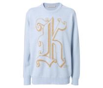 Woll-Pullover mit K-Stickerei Hellblau/Gold