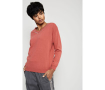 Cashmere-Pullover mit Perlendetails Rot