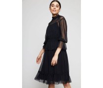 Semitransparentes Baumwoll-Seiden-Kleid Schwarz