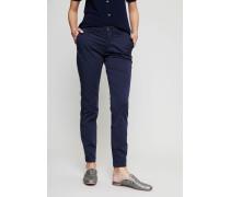 Baumwoll-Hose mit gekrempeltem Bein Blau