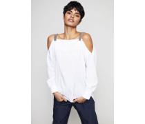Bluse mit perlenverzierten Trägern Weiß