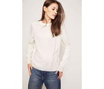 Klassischer Cashmere-Pullover mit Rundhals-Ausschnitt Crème