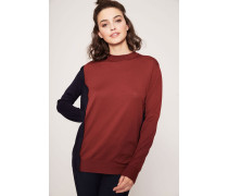 Feinstrick-Pullover mit Knopf-Detail Rot