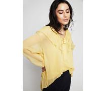 Semitransparente Seiden-Bluse Gelb