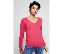 Woll-Pullover mit V-Ausschnitt Pink