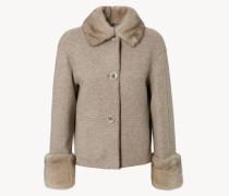 Leichte Cashmere-Jacke mit Leder-und Nerz Details Taupe Grey