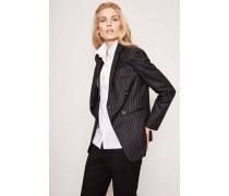 Woll-Blazer mit Perlenapplikation Anthrazit