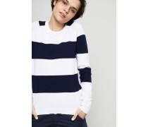Gestreifter Baumwoll-Cashmere-Pullover Marine/Weiß