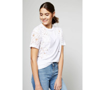 T-Shirt mit Ausbrenner Stern-Motiv Weiß