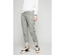 Gerade Jeans mit Beinumschlag in hellem Khaki