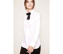 Baumwoll-Bluse mit Schleifen-Detail Weiß