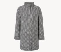 Grober Woll-Mantel Grau/Beige