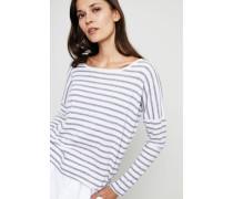 Gestreifter Baumwoll-Cashmere-Pullover Grau/Weiß
