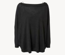 Cashmere-Seiden-Pullover mit Untertop Anthrazit