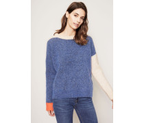 Mohair-Pullover mehrfarbig 'Rafa Block' Blau/Beige