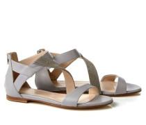 Sandale mit Perlenverzierung Grau