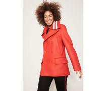 Woll-Jacke mit gestricktem Kragen-Detail Rot