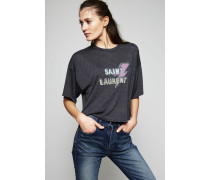 Cropped T-Shirt mit Logo-Print Grau