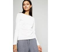 Leichter Baumwoll-Pullover Weiß