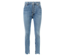 Jeans 'Nico' mit ausgefranstem Saum Hellblau