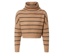 Cropped Cashmere-Pullover Camel/Schwarz