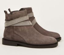 Flacher Velourleder-Boot mit Perlen-Detail 'Fashion Street' Grau