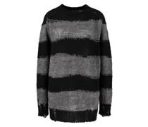 Mohair-Woll-Pullover Schwarz/Grau