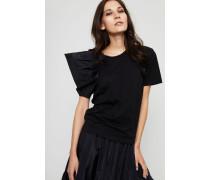 Baumwoll-Shirt mit kurzem Puffärmel Schwarz