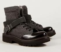 Boots mit Perlenapplikation Grau/Schwarz