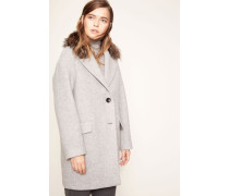 Woll-Mantel mit abnehmbaren Fellkragen Grau