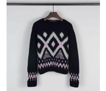 Handstrick Pullover 'Serafine' Navy/Rosé