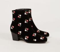Ankle Boots mit floraler Stickerei Schwarz