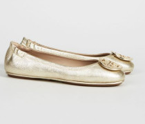 Leder-Ballerina 'Minnie Travel Ballet' Gold