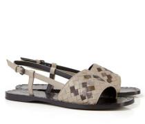 Geflochtene Sandale Greige/Braun