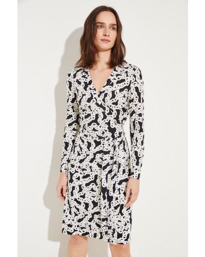Seiden-Wickelkleid 'New Jeanne' mit Print Schwarz/Weiß