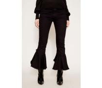High-Waist Volant-Jeans 'Drew Flounce' Schwarz