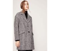 Gemusterter Woll-Mantel Blau/Grau