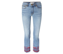 Jeans 'Myers Cropped Boot' mit Stickerei Hellblau