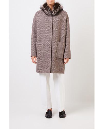 Wende-Alpaca-Woll-Mantel mit Fuchspelz Taupe/Beige