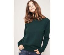Klassischer Cashmere-Pullover mit Rollkragen Mittelgrün
