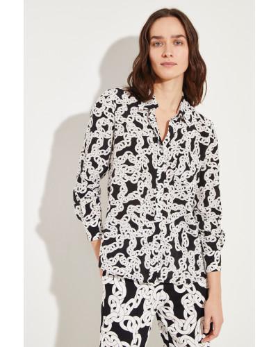 Seiden-Bluse mit Print Schwarz/Weiß