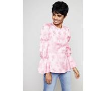 Bluse mit floraler Applikation Coral Pink