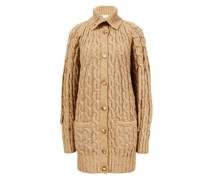 Woll-Cardigan mit Zopfstrickmuster