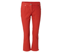 Gerade Jeans mit offenem Saum Rot