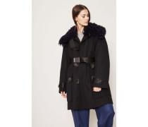 Mantel mit Lammfellkragen 'Cornel Pre' Schwarz