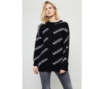 Oversized Wollpullover mit Schriftzug Schwarz/Weiß