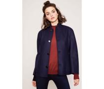 Woll-Blazer mit aufgesetzten Taschen Marineblau