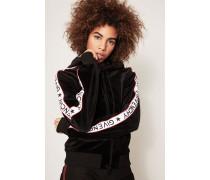 Samt-Sweatshirtjacke mit Logostreifen Schwarz