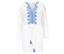 Tunikakleid mit Stickerei Weiß/Blau