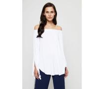 Off-Shoulder Bluse mit Trompetenärmel Weiß
